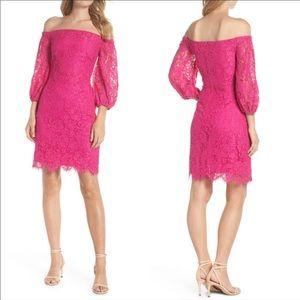 Trina Turk Azul Lace Off Shoulder Dress Pink 14
